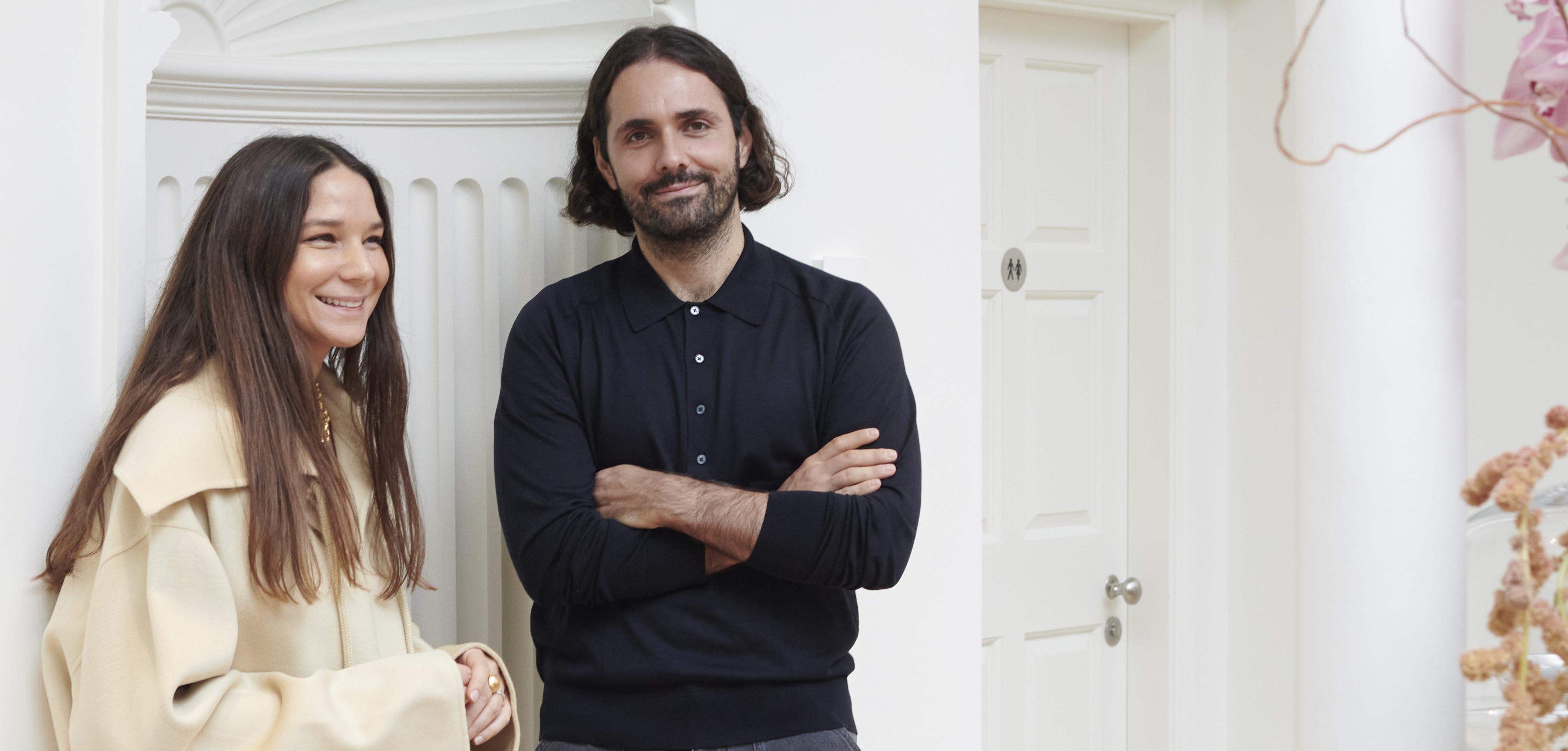 Sandra Sandor and Peter Baldaszti, life and business partners behind the luxury womenswear brand Nanushka.